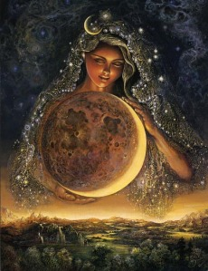 The Goddess holding a moon